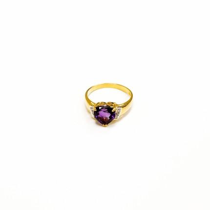 20K YG GEM,DIAMOND RING